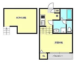宮城県仙台市宮城野区平成1丁目の賃貸アパートの間取り