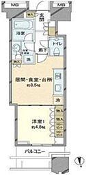 富久クロスコンフォートタワー 25階1LDKの間取り