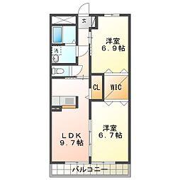 ブルースカイマンションVII[4階]の間取り