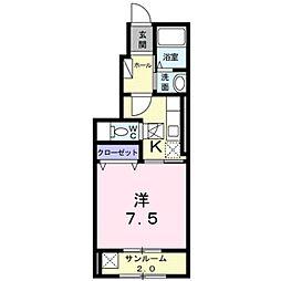 滋賀県湖南市下田の賃貸アパートの間取り