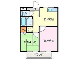 クリーンハイツ D棟[2階]の間取り