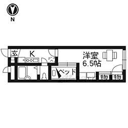 京都地下鉄東西線 六地蔵駅 徒歩17分の賃貸マンション 1階1Kの間取り