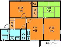 奈良県生駒郡三郷町立野北1丁目の賃貸アパートの間取り