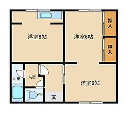 兵庫県神戸市垂水区本多聞1丁目の賃貸マンションの間取り