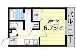 阪神本線 大物駅 徒歩8分の賃貸アパート 1階1Kの間取り