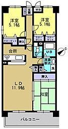トゥールモンド高宮[302号室]の間取り