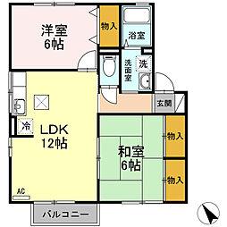 ファミール矢田B棟[1階]の間取り