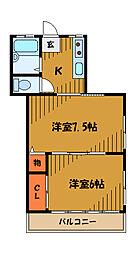 東京都国分寺市泉町の賃貸アパートの間取り