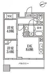 都営大江戸線 新御徒町駅 徒歩2分の賃貸マンション 11階2DKの間取り
