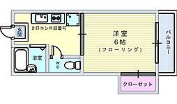 大阪府豊中市若竹町1丁目の賃貸アパートの間取り