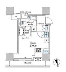 ベルファース芝浦タワー 14階ワンルームの間取り