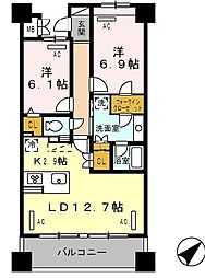 ロイヤルパークス豊洲 5階2LDKの間取り