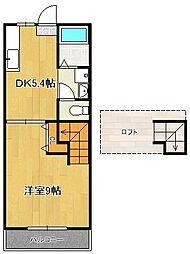 ジェニファー34 2階1DKの間取り