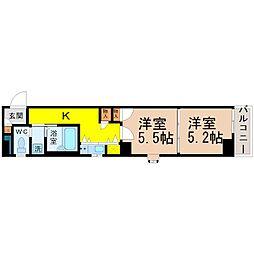 愛知県名古屋市中村区太閤通5丁目の賃貸マンションの間取り