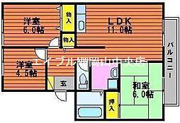 岡山県岡山市中区下丁目なしの賃貸アパートの間取り