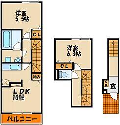 サージェ林I・B[2階]の間取り