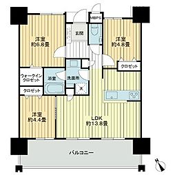 ミルコマンション前田ザビュー 4階3LDKの間取り