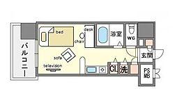 家具・家電付きモントーレ天神 B[6階]の間取り