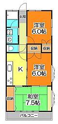 松山パークハイツ[3階]の間取り