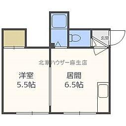 北海道札幌市北区新琴似七条1丁目の賃貸アパートの間取り