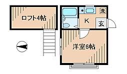 神奈川県川崎市幸区矢上の賃貸アパートの間取り