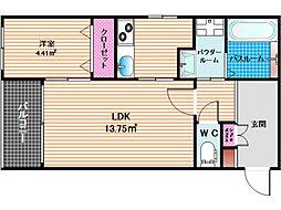 リアンレガーロ平尾ステーション 3階2Kの間取り