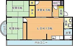 ブルーハイツ萩原(分譲賃貸)[2階]の間取り