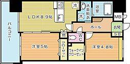 福岡県北九州市小倉北区竪町2丁目の賃貸マンションの間取り