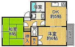 兵庫県宝塚市安倉南4丁目の賃貸アパートの間取り