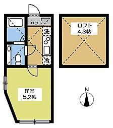 アザーレ永山2 2階1Kの間取り