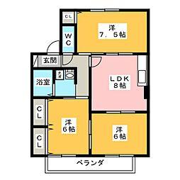 英苑II[2階]の間取り
