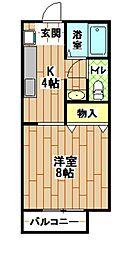 福岡県北九州市小倉南区下城野1丁目の賃貸アパートの間取り