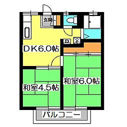 東京都東久留米市幸町1丁目の賃貸アパートの間取り