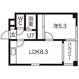 北海道札幌市東区北十一条東15丁目の賃貸マンションの間取り