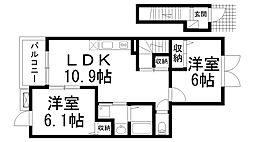 サンモールI 2階2LDKの間取り