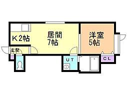 ミライコートII 2階1DKの間取り