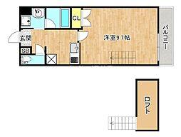 おおさか東線 城北公園通駅 徒歩3分の賃貸マンション 2階1Kの間取り