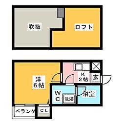 コンフォートベネフィス高宮8[2階]の間取り
