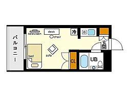 家具・家電付きメゾン・ド・天神[6階]の間取り