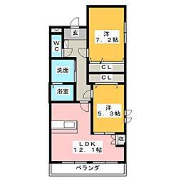 ジュピター左京山[4階]の間取り