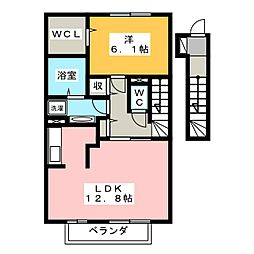 静岡県静岡市葵区唐瀬1丁目の賃貸アパートの間取り