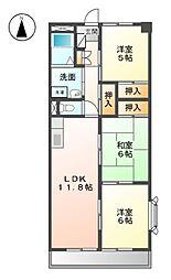 シャリテ西味鋺S棟[2階]の間取り