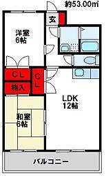 福岡県北九州市八幡西区香月西4丁目の賃貸マンションの間取り