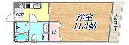 BENISSIMO西宮 3階ワンルームの間取り