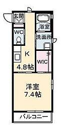 広島県東広島市八本松町原の賃貸アパートの間取り