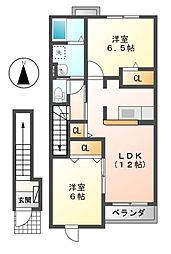 メゾンアンジュ琴塚 B[2階]の間取り