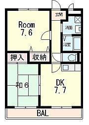 滋賀県東近江市幸町の賃貸マンションの間取り