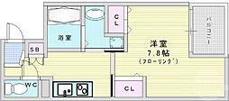 JR東西線 新福島駅 徒歩9分の賃貸マンション 4階1Kの間取り