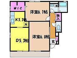 愛媛県松山市久万ノ台の賃貸アパートの間取り