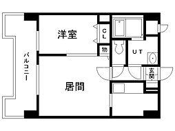 UURコート札幌北三条 12階1LDKの間取り